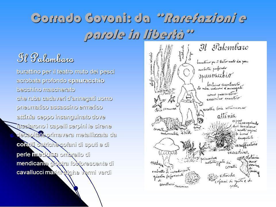 Corrado Govoni: da Rarefazioni e parole in libertà Il Palombaro burattino per il teatro muto dei pesci acrobata profondo spauracchio becchino maschera