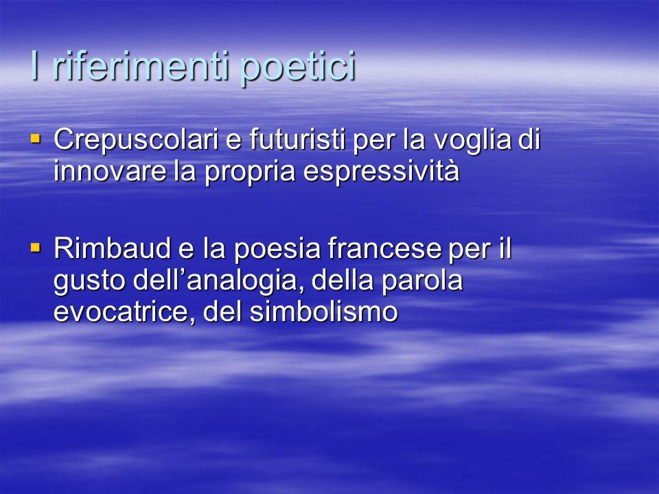 I riferimenti poetici Crepuscolari e futuristi per la voglia di innovare la propria espressività Crepuscolari e futuristi per la voglia di innovare la