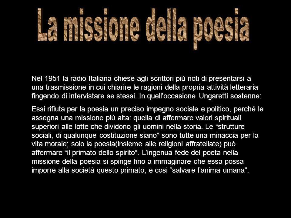 Nel 1951 la radio Italiana chiese agli scrittori più noti di presentarsi a una trasmissione in cui chiarire le ragioni della propria attività letterar
