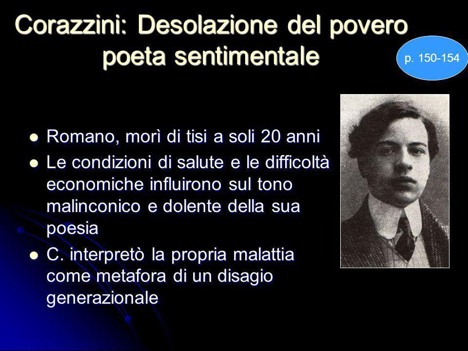 Corazzini: Desolazione del povero poeta sentimentale Romano, morì di tisi a soli 20 anni Romano, morì di tisi a soli 20 anni Le condizioni di salute e