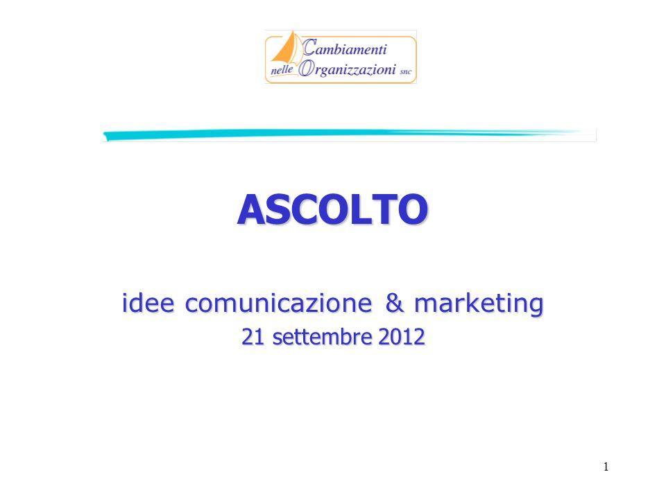 1 ASCOLTO idee comunicazione & marketing 21 settembre 2012