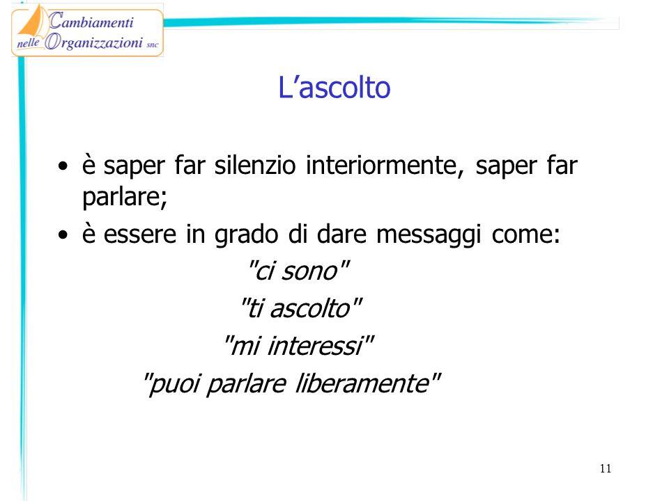 Lascolto è saper far silenzio interiormente, saper far parlare; è essere in grado di dare messaggi come: