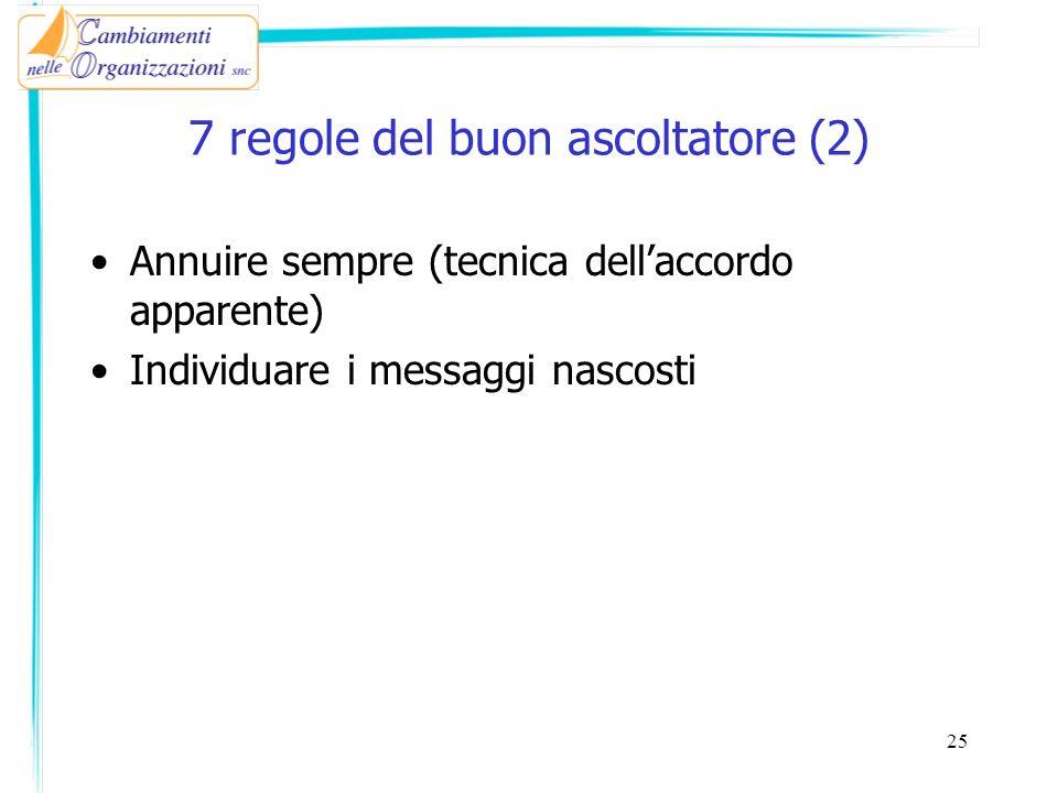 7 regole del buon ascoltatore (2) Annuire sempre (tecnica dellaccordo apparente) Individuare i messaggi nascosti 25