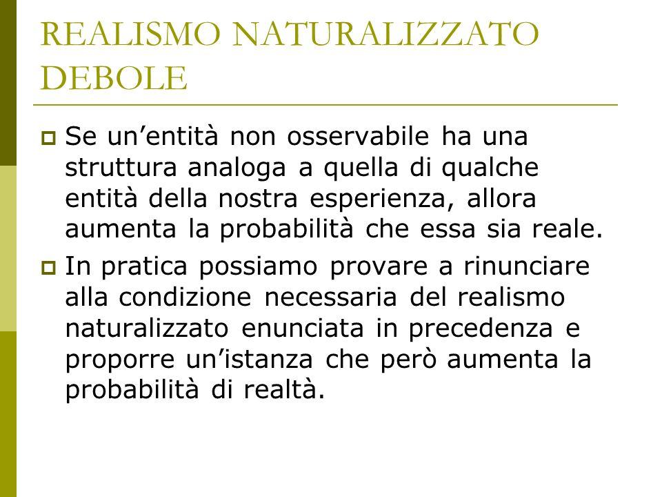 REALISMO NATURALIZZATO DEBOLE Se unentità non osservabile ha una struttura analoga a quella di qualche entità della nostra esperienza, allora aumenta la probabilità che essa sia reale.
