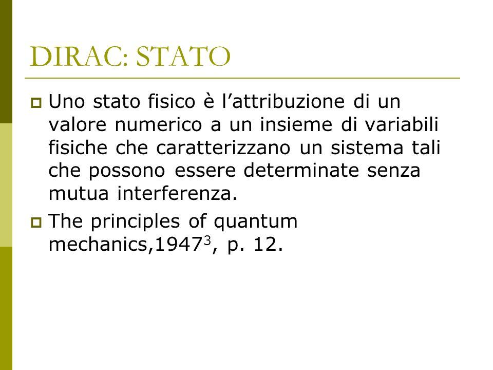 DIRAC: STATO Uno stato fisico è lattribuzione di un valore numerico a un insieme di variabili fisiche che caratterizzano un sistema tali che possono essere determinate senza mutua interferenza.