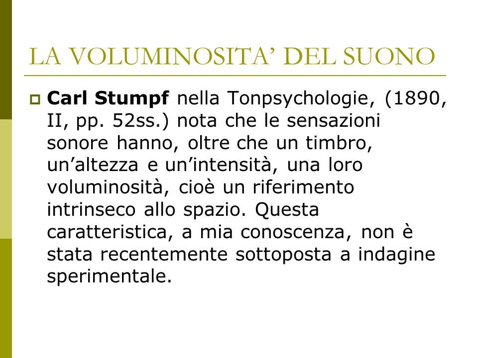 LA VOLUMINOSITA DEL SUONO Carl Stumpf nella Tonpsychologie, (1890, II, pp.