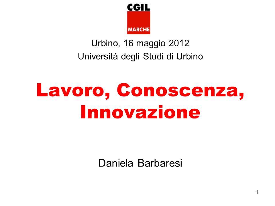 1 Urbino, 16 maggio 2012 Università degli Studi di Urbino Lavoro, Conoscenza, Innovazione Daniela Barbaresi
