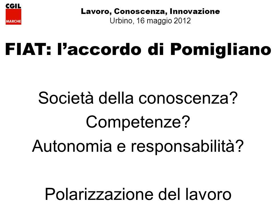 Lavoro, Conoscenza, Innovazione Urbino, 16 maggio 2012 FIAT: laccordo di Pomigliano Società della conoscenza.