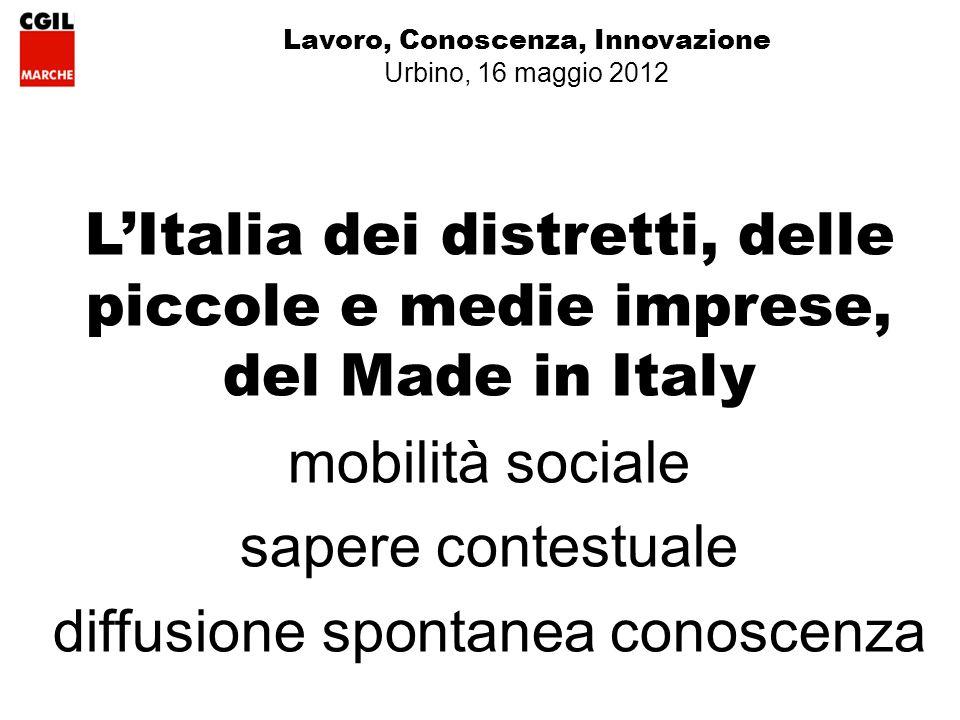 Lavoro, Conoscenza, Innovazione Urbino, 16 maggio 2012 LItalia dei distretti, delle piccole e medie imprese, del Made in Italy mobilità sociale sapere contestuale diffusione spontanea conoscenza