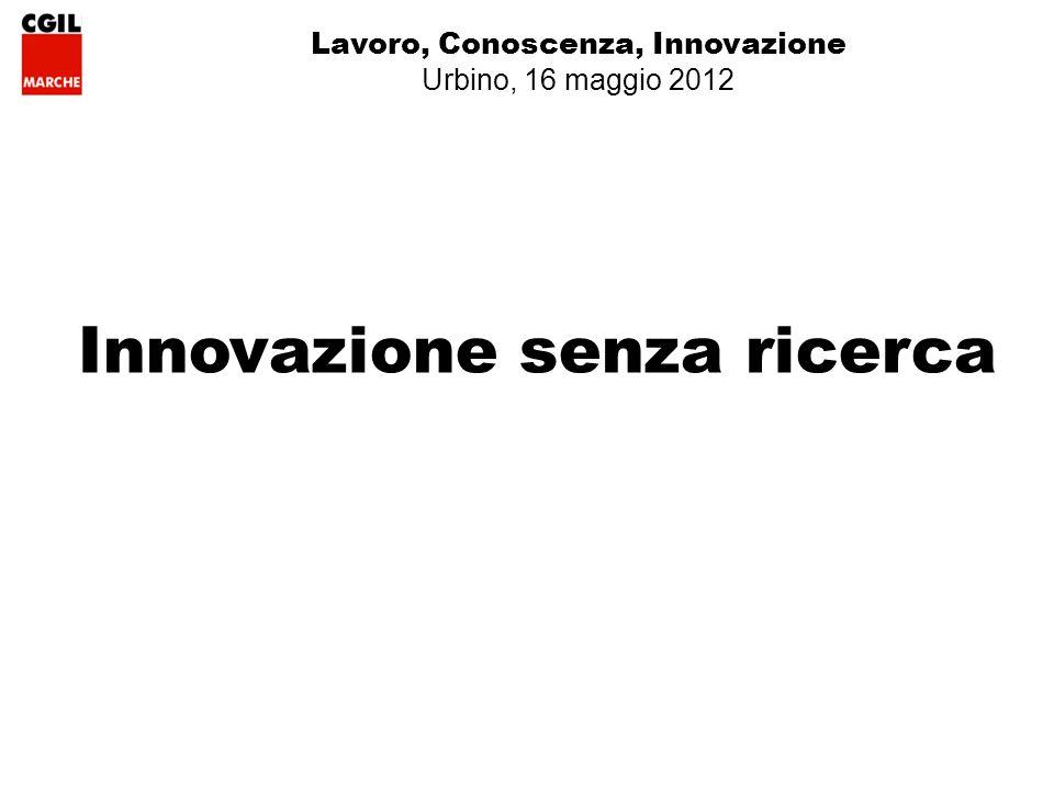 Lavoro, Conoscenza, Innovazione Urbino, 16 maggio 2012 Innovazione senza ricerca