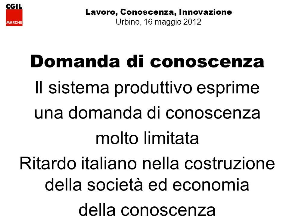 Domanda di conoscenza Il sistema produttivo esprime una domanda di conoscenza molto limitata Ritardo italiano nella costruzione della società ed economia della conoscenza