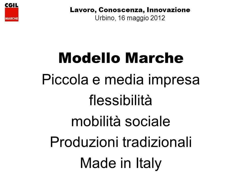 Lavoro, Conoscenza, Innovazione Urbino, 16 maggio 2012 Modello Marche Piccola e media impresa flessibilità mobilità sociale Produzioni tradizionali Made in Italy