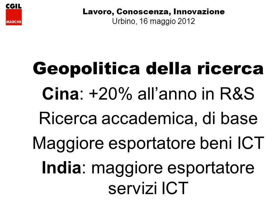 Lavoro, Conoscenza, Innovazione Urbino, 16 maggio 2012 Geopolitica della ricerca Cina: +20% allanno in R&S Ricerca accademica, di base Maggiore esportatore beni ICT India: maggiore esportatore servizi ICT