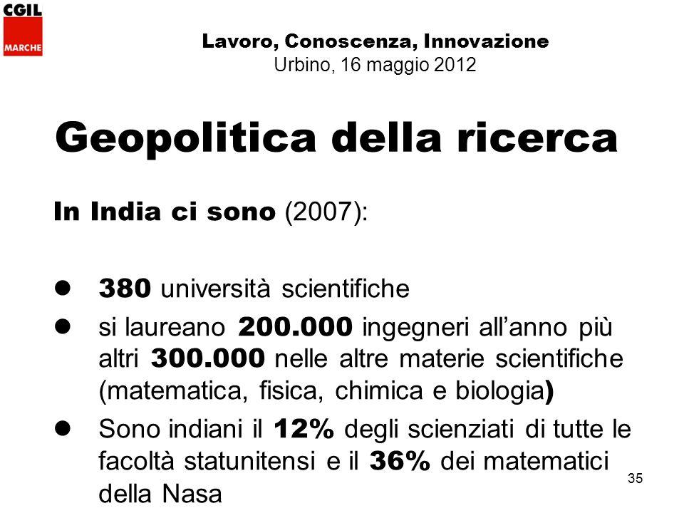 35 Geopolitica della ricerca In India ci sono (2007): 380 università scientifiche si laureano 200.000 ingegneri allanno più altri 300.000 nelle altre materie scientifiche (matematica, fisica, chimica e biologia ) Sono indiani il 12% degli scienziati di tutte le facoltà statunitensi e il 36% dei matematici della Nasa Lavoro, Conoscenza, Innovazione Urbino, 16 maggio 2012