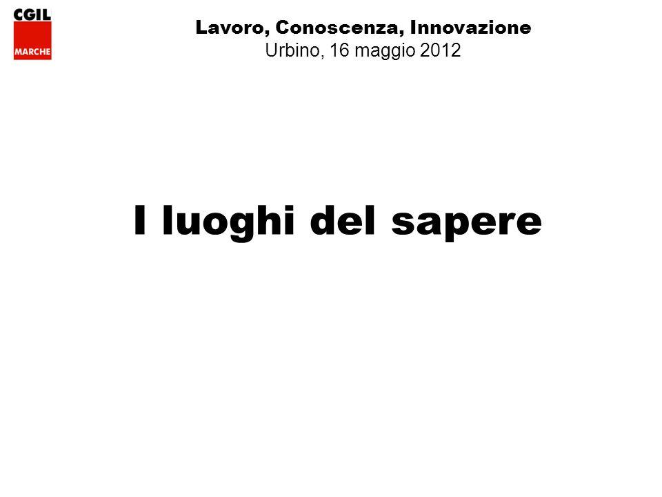 Lavoro, Conoscenza, Innovazione Urbino, 16 maggio 2012 I luoghi del sapere