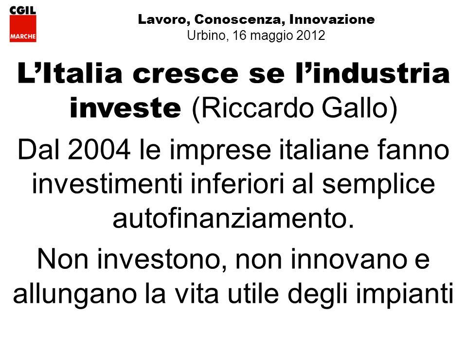 Lavoro, Conoscenza, Innovazione Urbino, 16 maggio 2012 LItalia cresce se lindustria investe (Riccardo Gallo) Dal 2004 le imprese italiane fanno investimenti inferiori al semplice autofinanziamento.