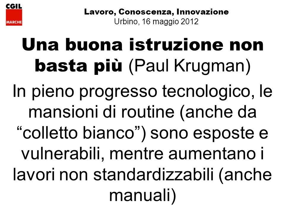 Lavoro, Conoscenza, Innovazione Urbino, 16 maggio 2012 Una buona istruzione non basta più (Paul Krugman) In pieno progresso tecnologico, le mansioni di routine (anche da colletto bianco) sono esposte e vulnerabili, mentre aumentano i lavori non standardizzabili (anche manuali)