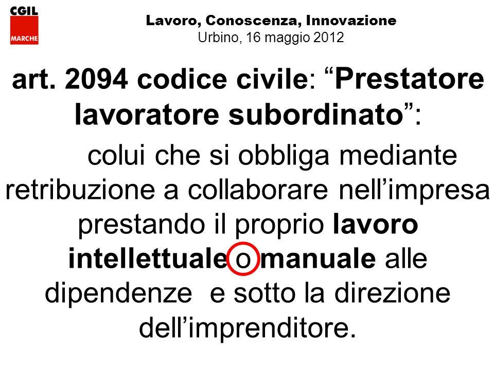 Lavoro, Conoscenza, Innovazione Urbino, 16 maggio 2012 art.