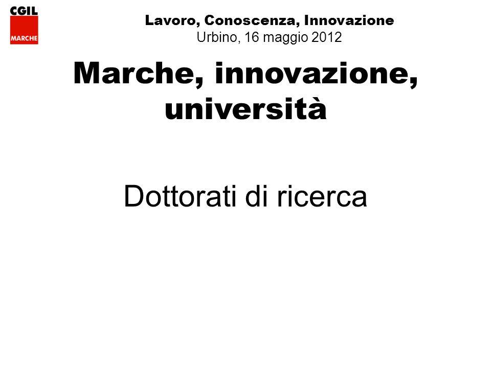 Lavoro, Conoscenza, Innovazione Urbino, 16 maggio 2012 Marche, innovazione, università Dottorati di ricerca