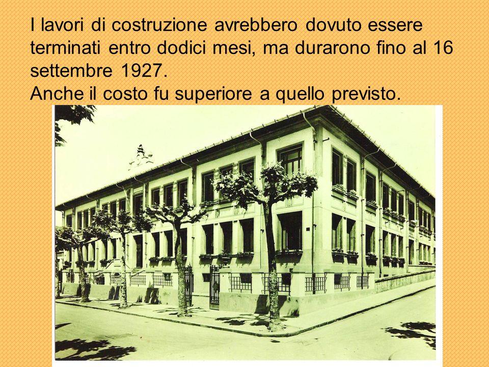 I lavori di costruzione avrebbero dovuto essere terminati entro dodici mesi, ma durarono fino al 16 settembre 1927.