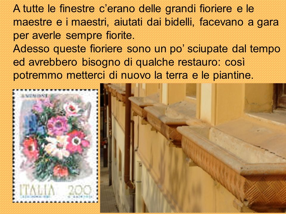 A tutte le finestre cerano delle grandi fioriere e le maestre e i maestri, aiutati dai bidelli, facevano a gara per averle sempre fiorite.