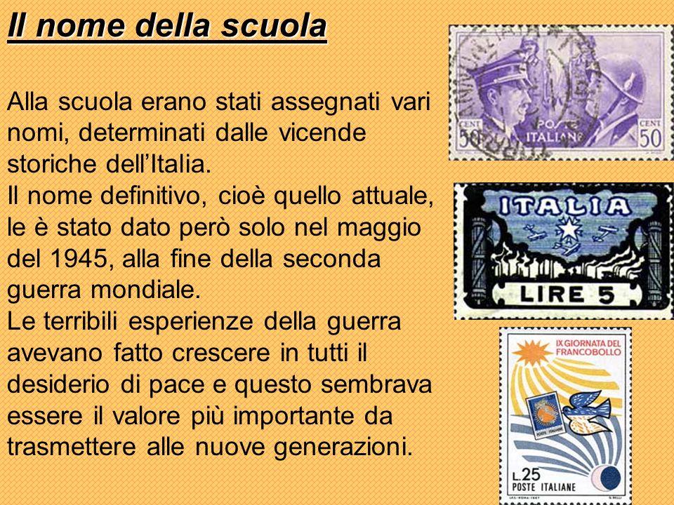 Il nome della scuola Alla scuola erano stati assegnati vari nomi, determinati dalle vicende storiche dellItalia.