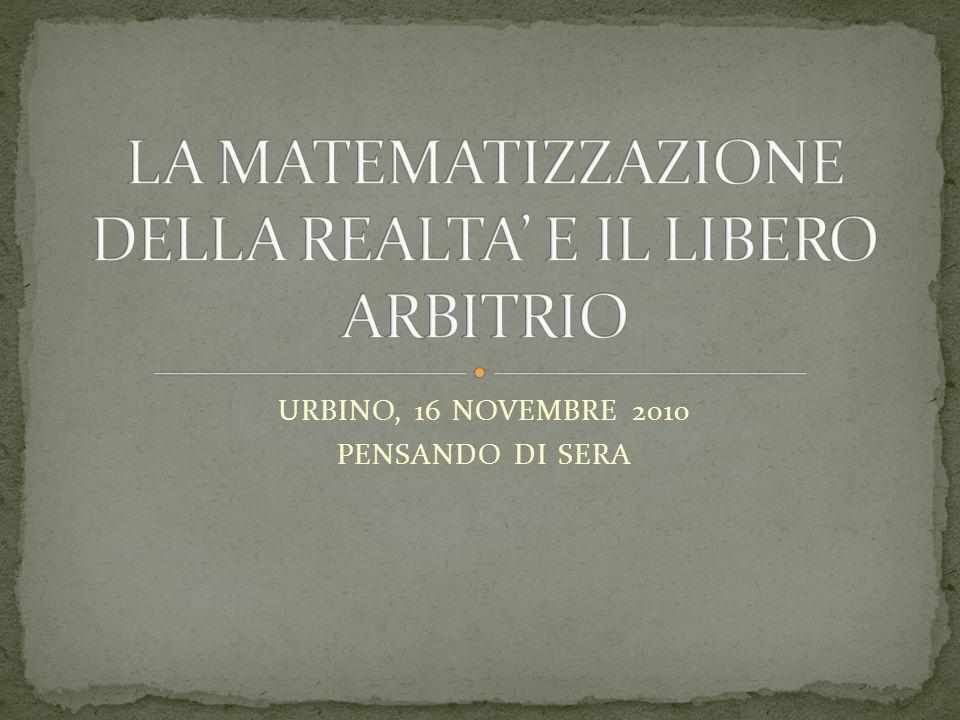 URBINO, 16 NOVEMBRE 2010 PENSANDO DI SERA