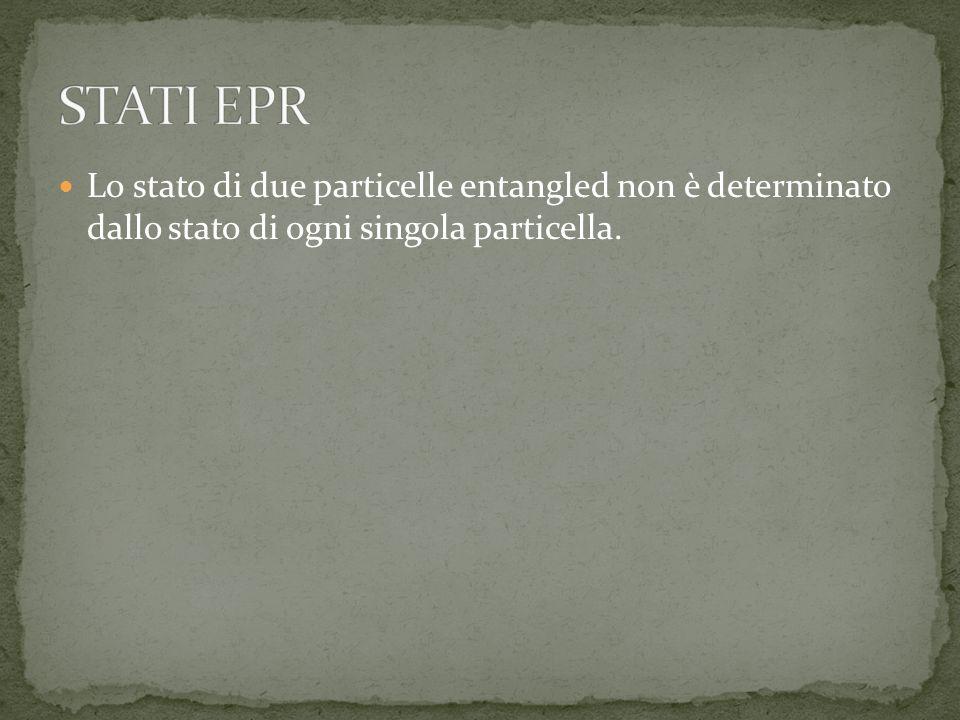 Lo stato di due particelle entangled non è determinato dallo stato di ogni singola particella.