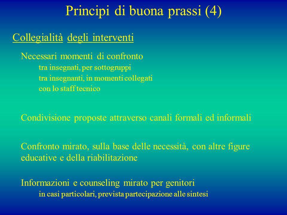 Principi di buona prassi (4) Collegialità degli interventi Necessari momenti di confronto tra insegnati, per sottogruppi tra insegnanti, in momenti co