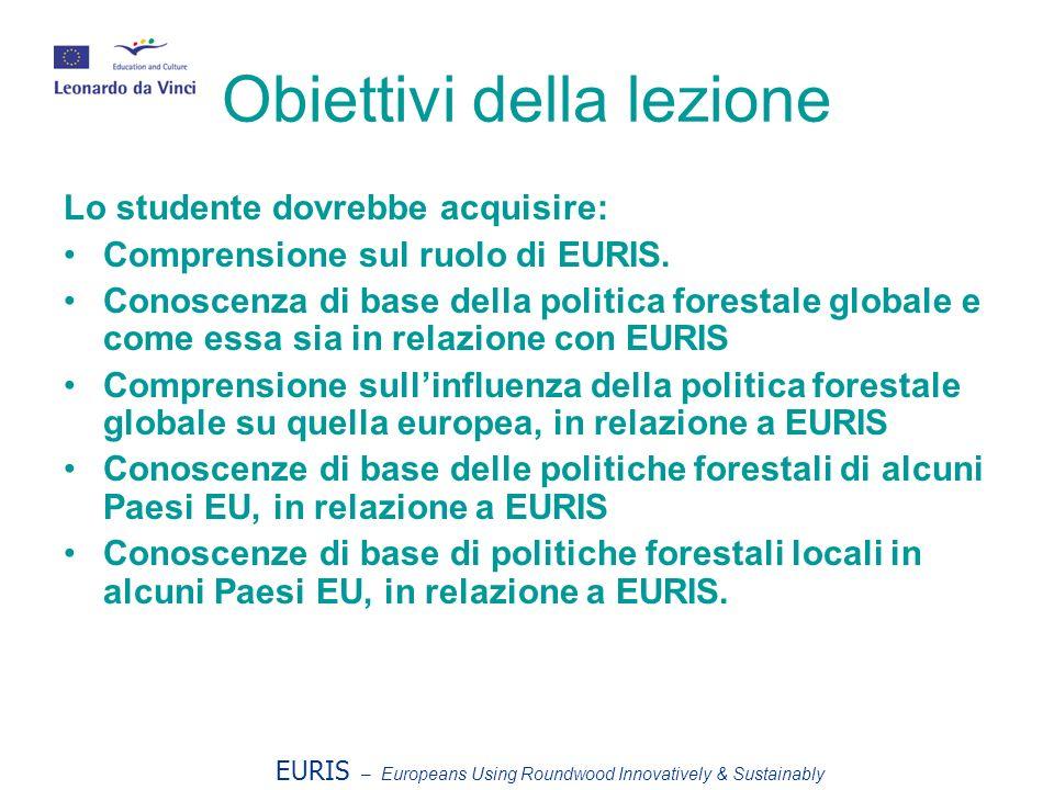 Obiettivi della lezione Lo studente dovrebbe acquisire: Comprensione sul ruolo di EURIS.