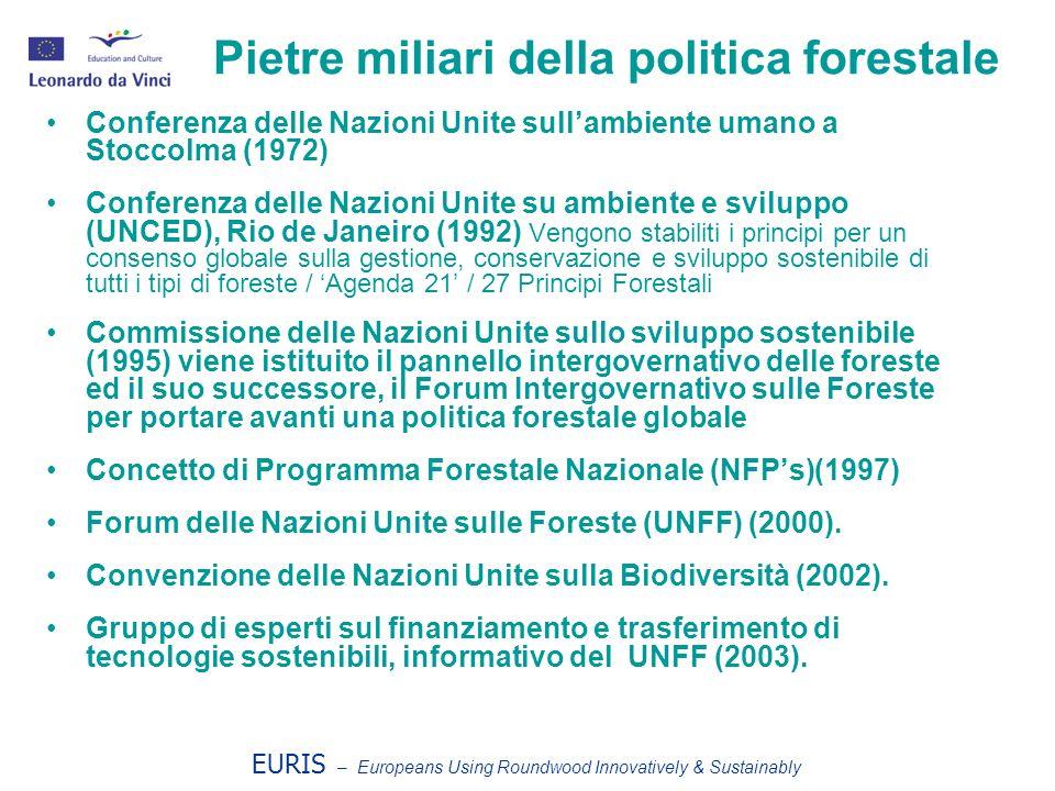 EURIS – Europeans Using Roundwood Innovatively & Sustainably Pietre miliari della politica forestale europea Conferenza ministeriale sulla protezione delle foreste – Helsinki, 1993.