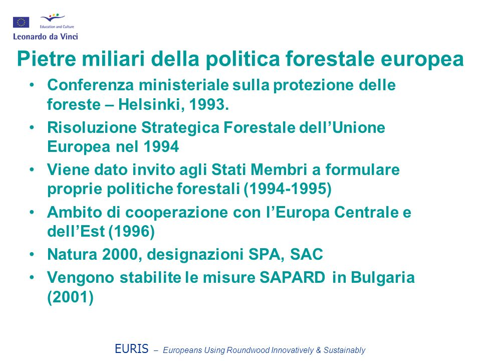 EURIS – Europeans Using Roundwood Innovatively & Sustainably Pietre miliari della politica forestale europea Conferenza ministeriale sulla protezione