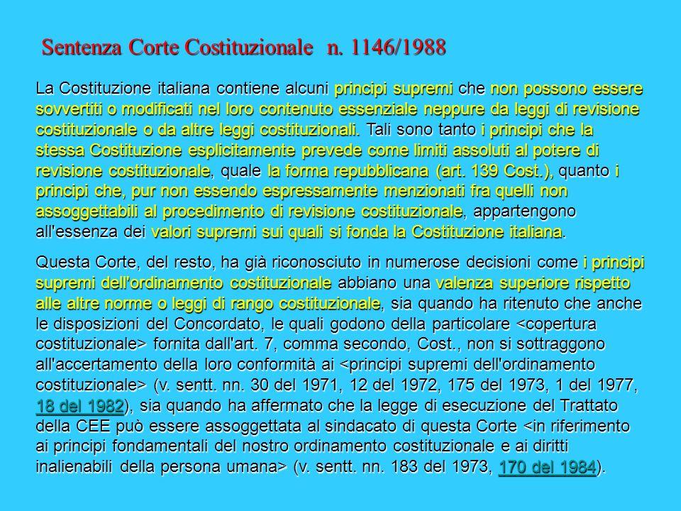 I LIMITI ALLA REVISIONE COSTITUZIONALE Lunico limite espresso è la forma repubblicana (art. 139 Cost.) I limiti impliciti sono i principi supremi dell