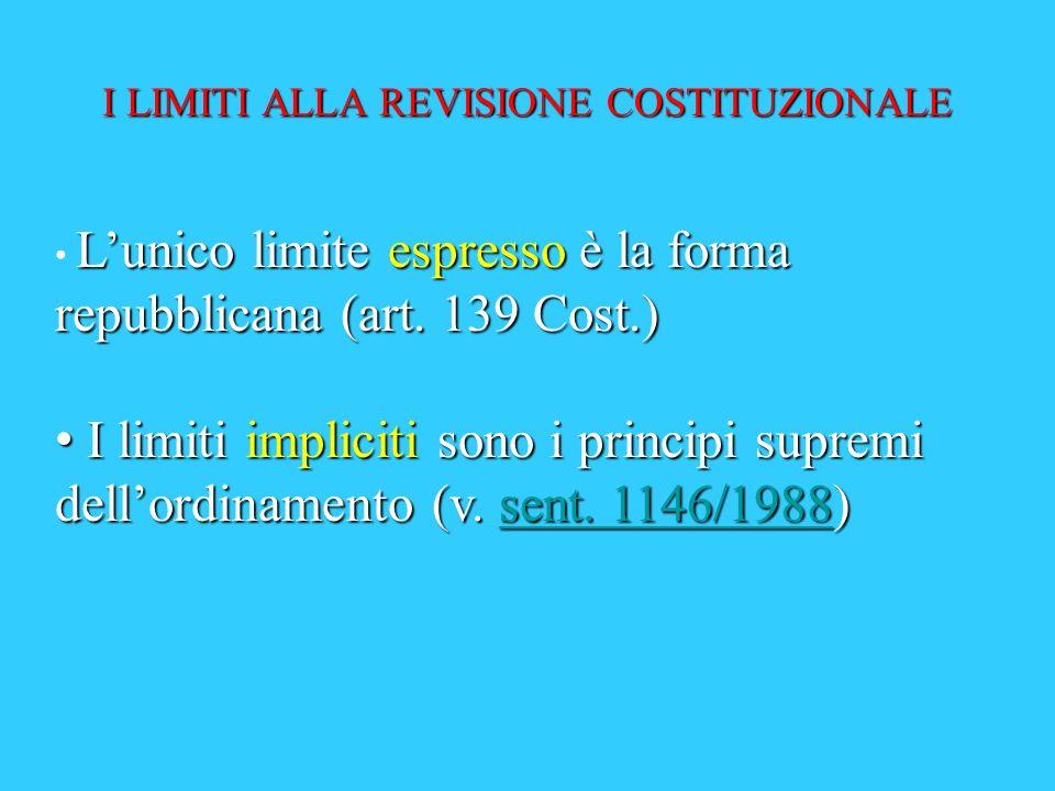 Prima deliberazione Seconda deliberazione LE LEGGI DI REVISIONE COSTITUZIONALE E LE ALTRE LEGGI COSTITUZIONALI: IL PROCEDIMENTO Promulgazione non meno