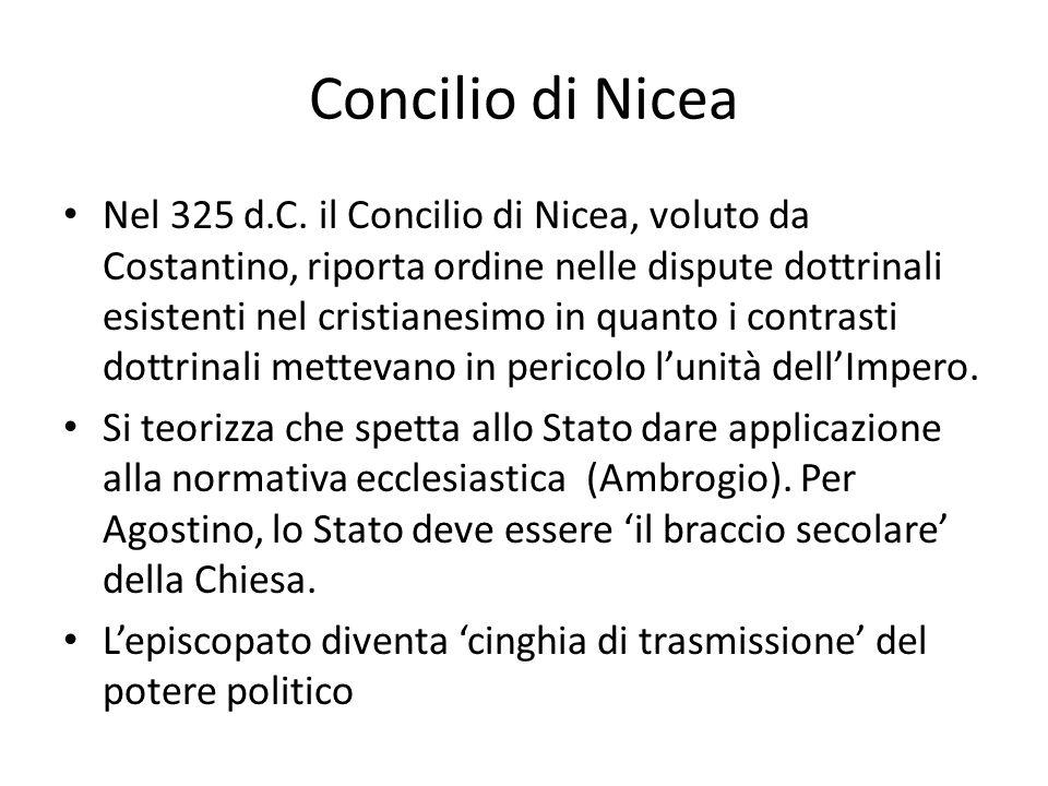 Concilio di Nicea Nel 325 d.C. il Concilio di Nicea, voluto da Costantino, riporta ordine nelle dispute dottrinali esistenti nel cristianesimo in quan