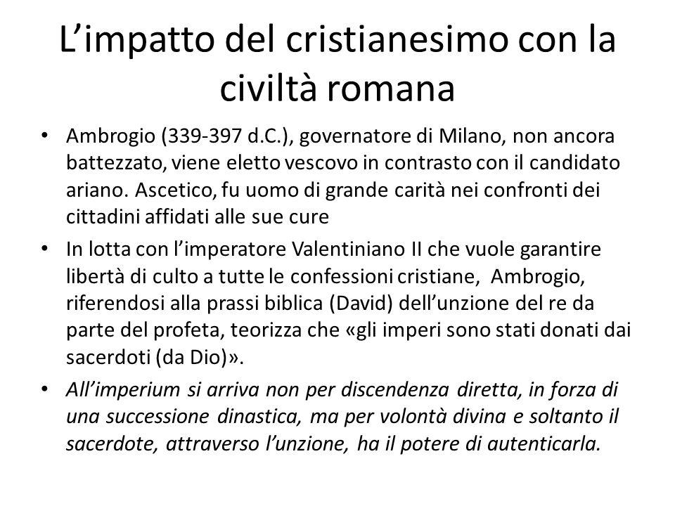 Ambrogio (339-397 d.C.), governatore di Milano, non ancora battezzato, viene eletto vescovo in contrasto con il candidato ariano. Ascetico, fu uomo di