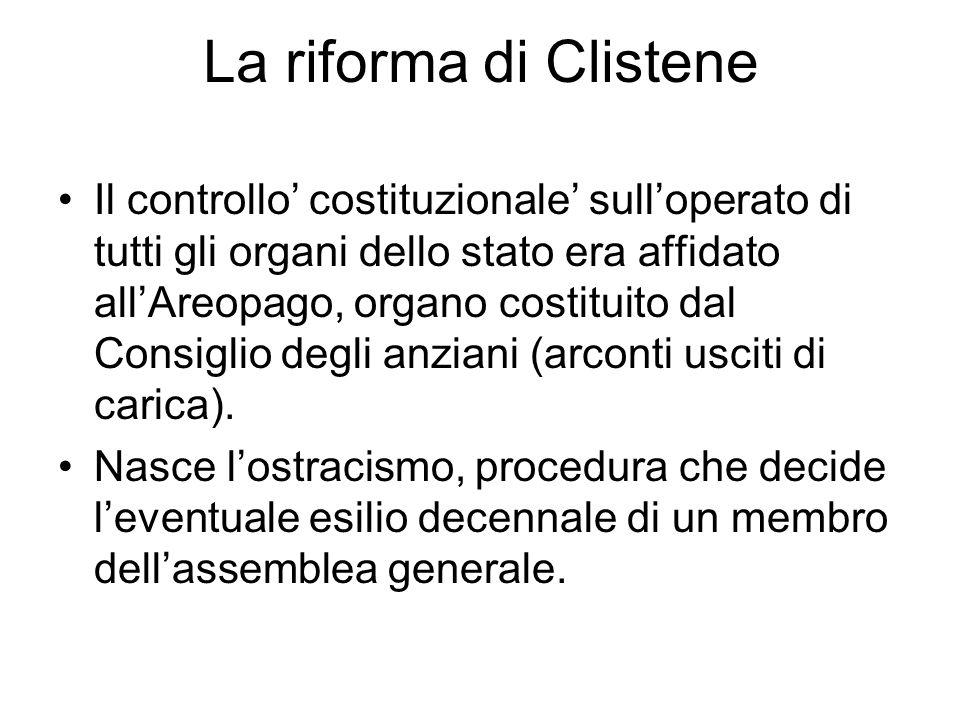 Il controllo costituzionale sulloperato di tutti gli organi dello stato era affidato allAreopago, organo costituito dal Consiglio degli anziani (arcon