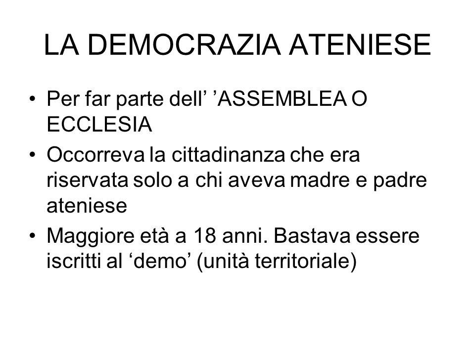 LA DEMOCRAZIA ATENIESE Per far parte dell ASSEMBLEA O ECCLESIA Occorreva la cittadinanza che era riservata solo a chi aveva madre e padre ateniese Mag