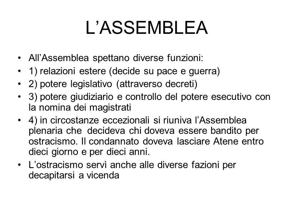 LASSEMBLEA AllAssemblea spettano diverse funzioni: 1) relazioni estere (decide su pace e guerra) 2) potere legislativo (attraverso decreti) 3) potere