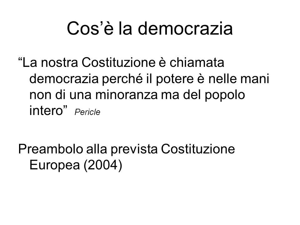 Cosè la democrazia La nostra Costituzione è chiamata democrazia perché il potere è nelle mani non di una minoranza ma del popolo intero Pericle Preambolo alla prevista Costituzione Europea (2004)