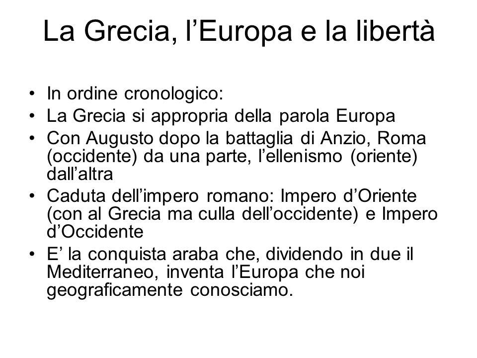 In ordine cronologico: La Grecia si appropria della parola Europa Con Augusto dopo la battaglia di Anzio, Roma (occidente) da una parte, lellenismo (o