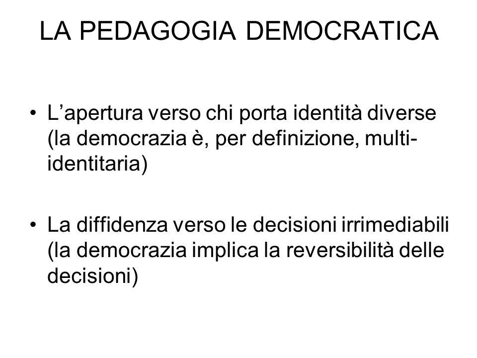 Lapertura verso chi porta identità diverse (la democrazia è, per definizione, multi- identitaria) La diffidenza verso le decisioni irrimediabili (la democrazia implica la reversibilità delle decisioni) LA PEDAGOGIA DEMOCRATICA