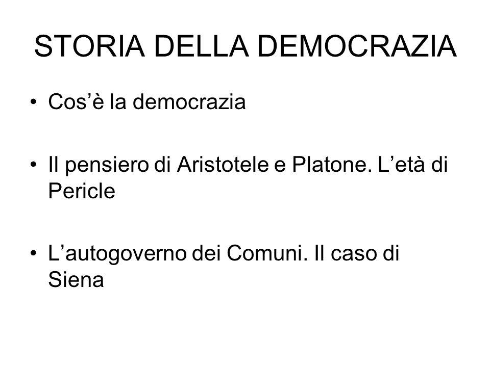 Cosè la democrazia Il pensiero di Aristotele e Platone. Letà di Pericle Lautogoverno dei Comuni. Il caso di Siena
