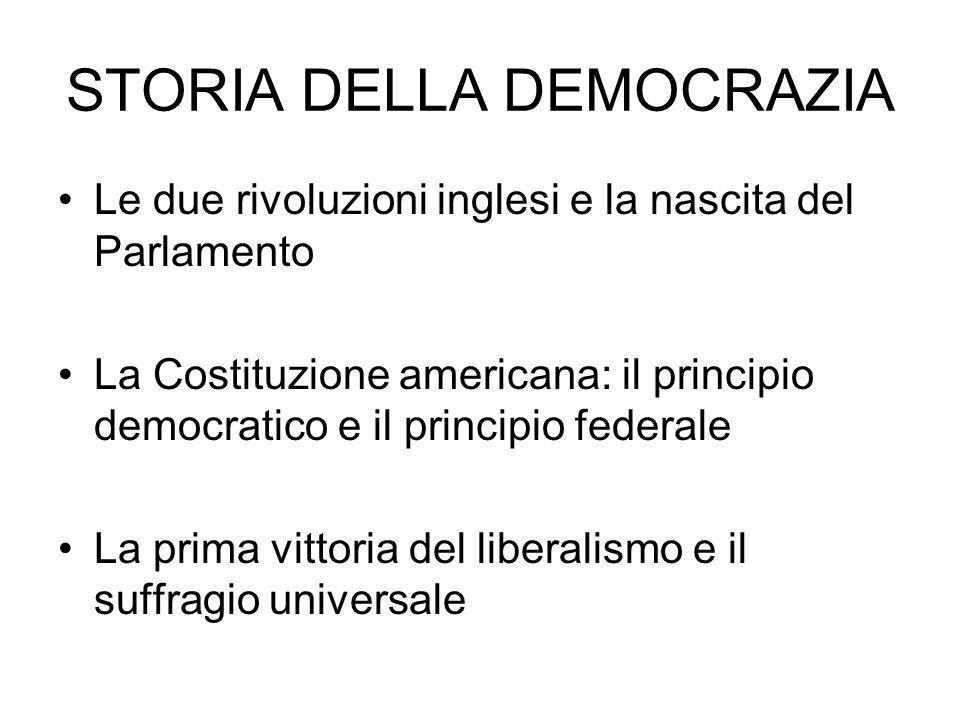 Le due rivoluzioni inglesi e la nascita del Parlamento La Costituzione americana: il principio democratico e il principio federale La prima vittoria del liberalismo e il suffragio universale STORIA DELLA DEMOCRAZIA