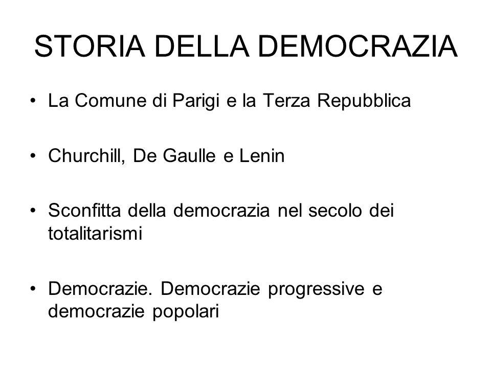 La Comune di Parigi e la Terza Repubblica Churchill, De Gaulle e Lenin Sconfitta della democrazia nel secolo dei totalitarismi Democrazie. Democrazie
