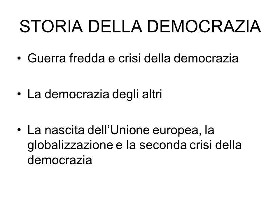 Guerra fredda e crisi della democrazia La democrazia degli altri La nascita dellUnione europea, la globalizzazione e la seconda crisi della democrazia STORIA DELLA DEMOCRAZIA