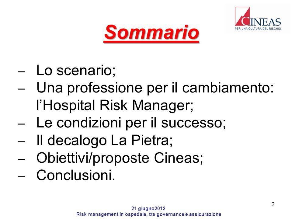 21 giugno2012 Risk management in ospedale, tra governance e assicurazione Obiettivi/proposte Cineas Una funzione di Risk management in tutti gli ospedali italiani, per evitare una sanità a pelle di leopardo; Creare competenze specifiche e metodologie appropriate; 13