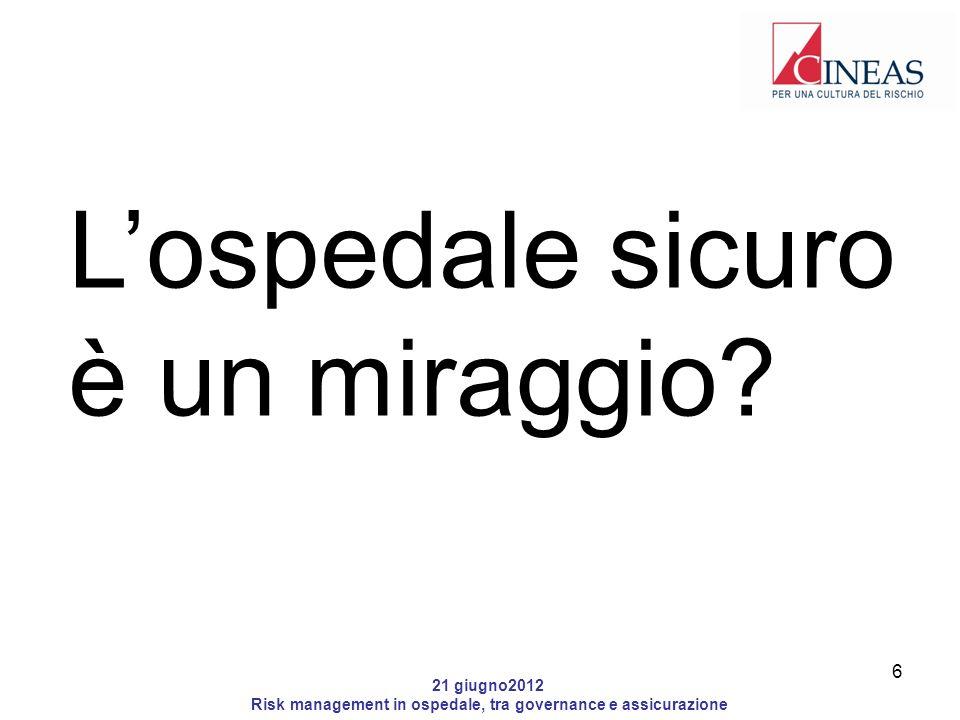 21 giugno2012 Risk management in ospedale, tra governance e assicurazione Lospedale sicuro è un miraggio.