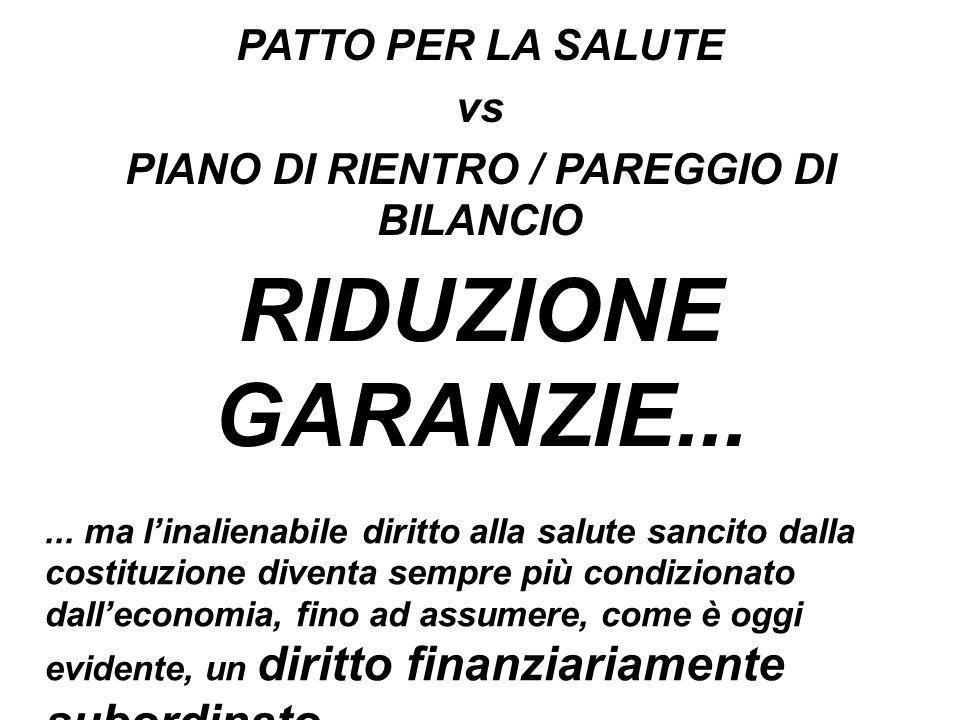 RIDUZIONE GARANZIE... PATTO PER LA SALUTE vs PIANO DI RIENTRO / PAREGGIO DI BILANCIO...