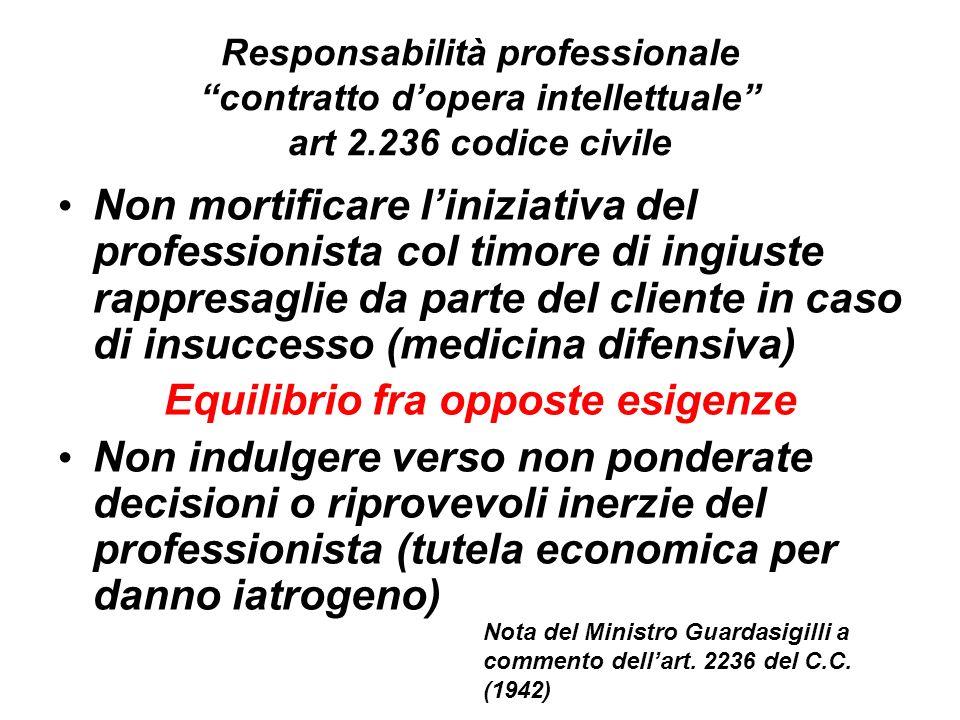 Responsabilità professionale contratto dopera intellettuale art 2.236 codice civile Non mortificare liniziativa del professionista col timore di ingiu